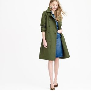 J.Crew Green Belted Classic Military Trench Jacket